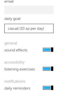 Duolingo's settings